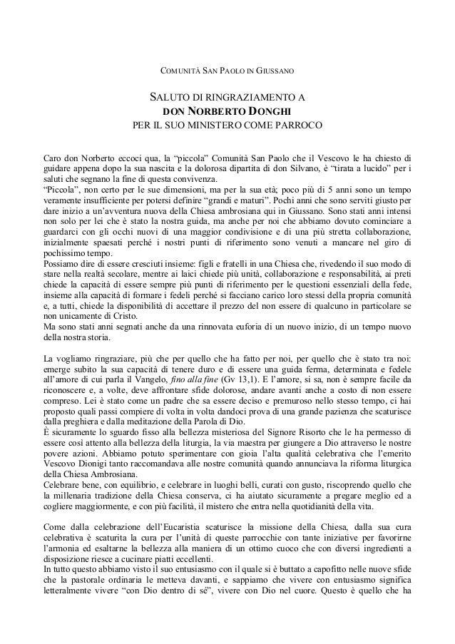 COMUNITÀ SAN PAOLO IN GIUSSANO  SALUTO DI RINGRAZIAMENTO A DON NORBERTO DONGHI PER IL SUO MINISTERO COME PARROCO Caro don ...