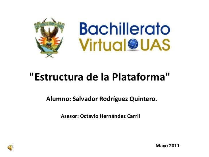 """""""Estructura de la Plataforma""""<br />Alumno: Salvador Rodríguez Quintero.<br />Asesor: Octavio Hernández Carril<br />       ..."""