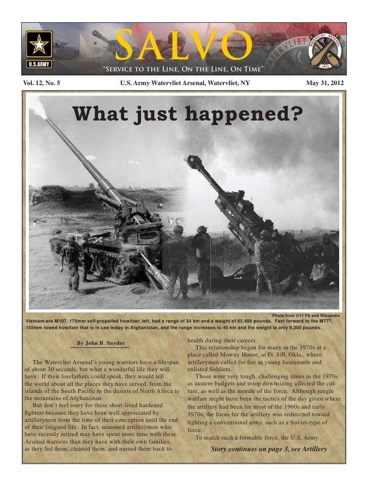 Watervliet Arsenal's Newsletter: Salvo 31 May 2012