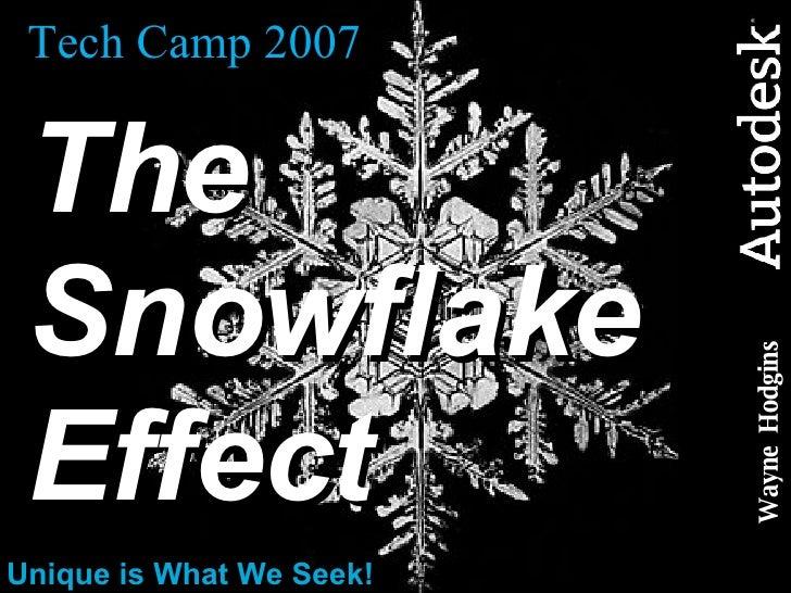 Tech Camp 2007 The Snowflake  Effect Unique is What We Seek! Wayne  Hodgins