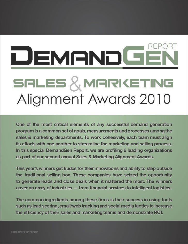 Sales & Marketing Alignment Awards 2010