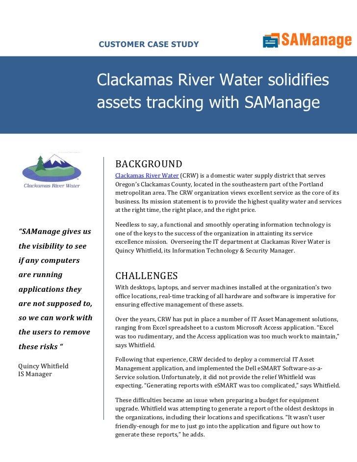 Samanage Clackamas River Water case study