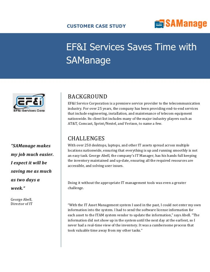 CUSTOMER CASE STUDY                          EF&I Services Saves Time with                       SAManage                 ...