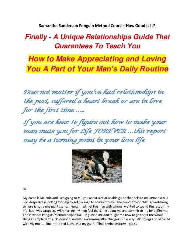 Samantha Sanderson Penguin Method Course- How Good Is It? Finally - A Unique Relationships Guide That Guarantees To Teach ...
