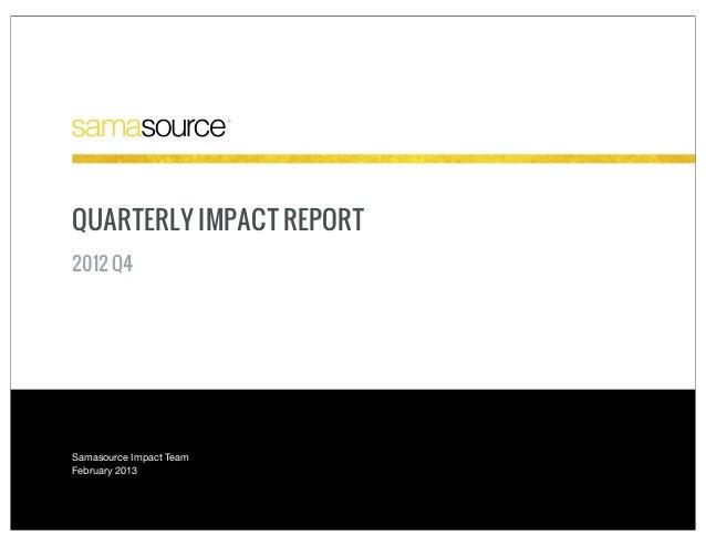 QUARTERLY IMPACT REPORT2012 Q4Samasource Impact TeamFebruary 2013