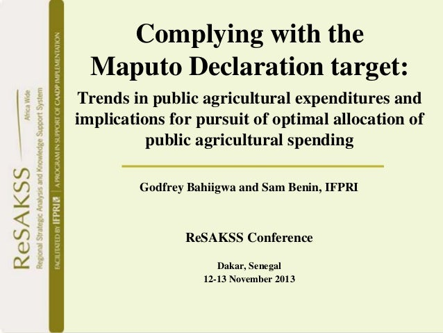 Complying with the Maputo Declaration target: Trends in public agricultural expenditures and implications for pursuit of optimal allocation of public agricultural spending - Godfrey Bahiigwa and Sam Benin, IFPRI