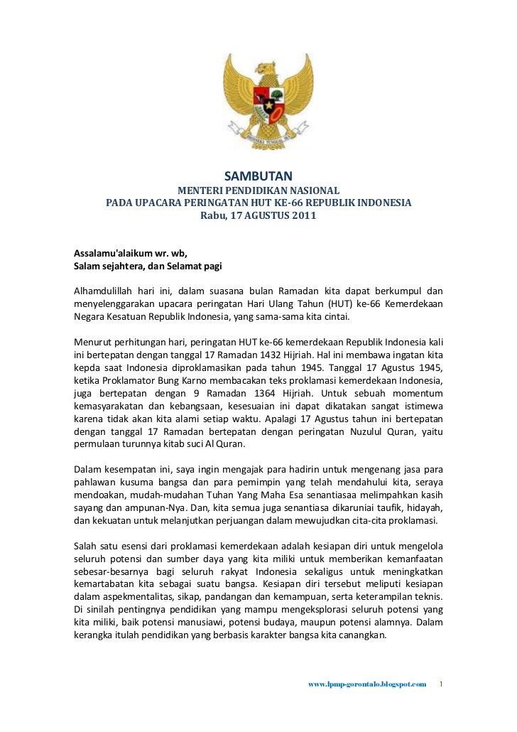 SAMBUTAN                  MENTERI PENDIDIKAN NASIONAL       PADA UPACARA PERINGATAN HUT KE-66 REPUBLIK INDONESIA          ...