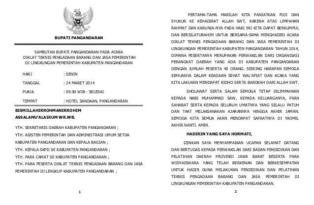 BUPATI PANGANDARAN SAMBUTAN BUPATI PANGANDARAN PADA ACARA DIKLAT TEKNIS PENGADAAN BARANG DAN JASA PEMERINTAH DI LINGKUNGAN...
