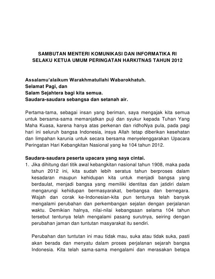 SAMBUTAN MENTERI KOMUNIKASI DAN INFORMATIKA RI   SELAKU KETUA UMUM PERINGATAN HARKITNAS TAHUN 2012Assalamu'alaikum Warakhm...