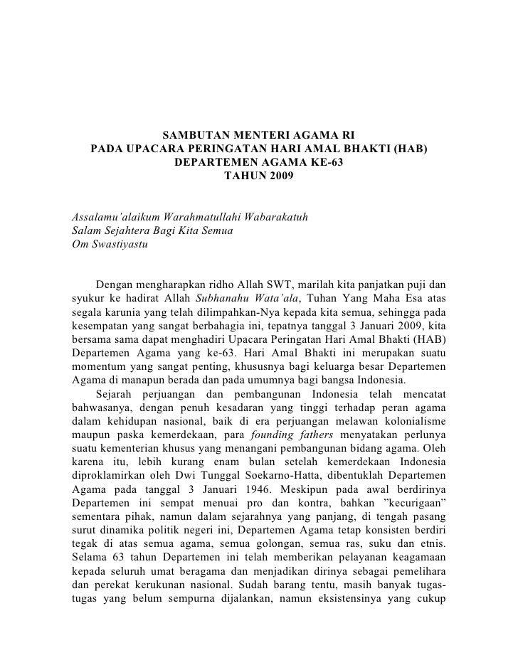 SAMBUTAN MENTERI AGAMA RI    PADA UPACARA PERINGATAN HARI AMAL BHAKTI (HAB)               DEPARTEMEN AGAMA KE-63          ...