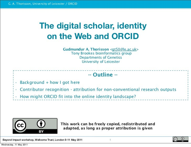 sameAs London May 2011: The digital scholar, identity on the Web and ORCID