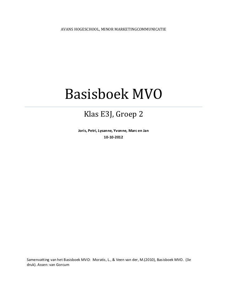 Samenvatting basisboek mvo