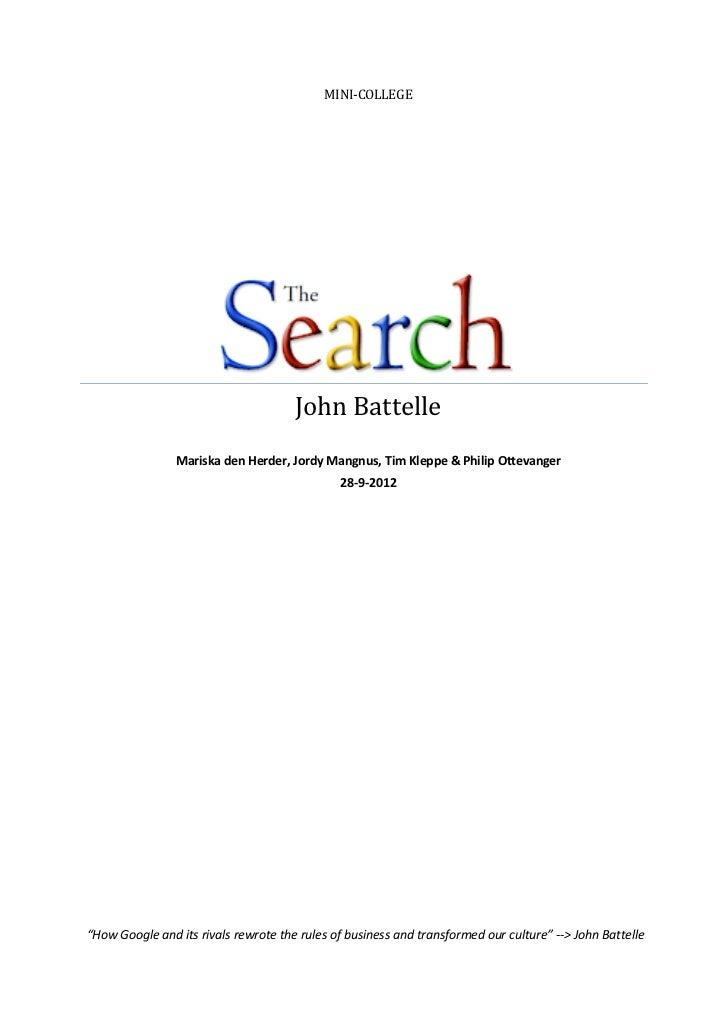 Samenvatting the search