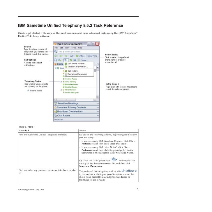 IBM Sametime 8.5.2 Unified Telephony Task Reference