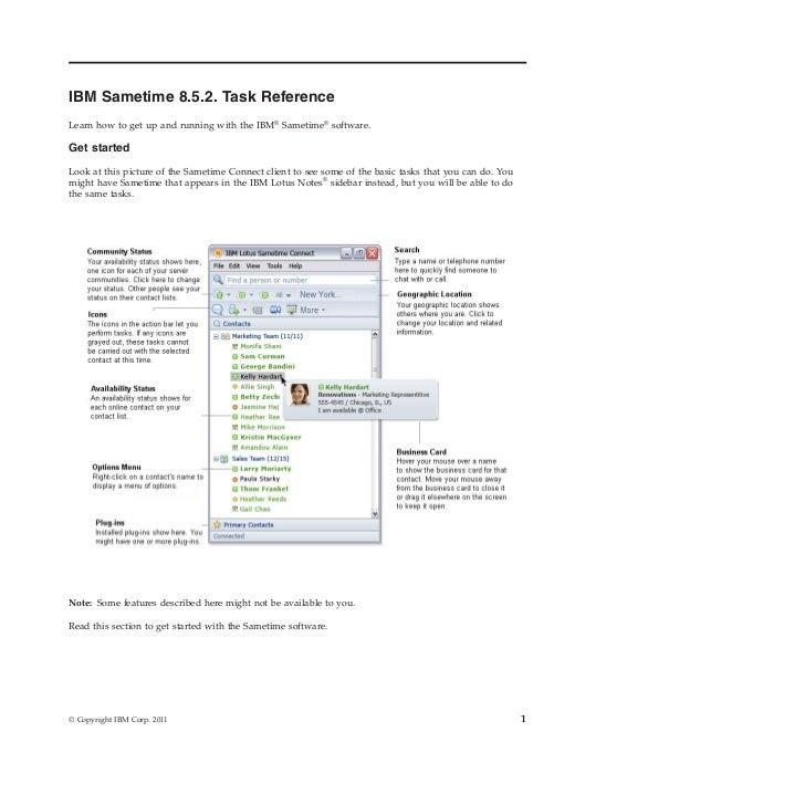 IBM Sametime 8.5.2 Task Reference