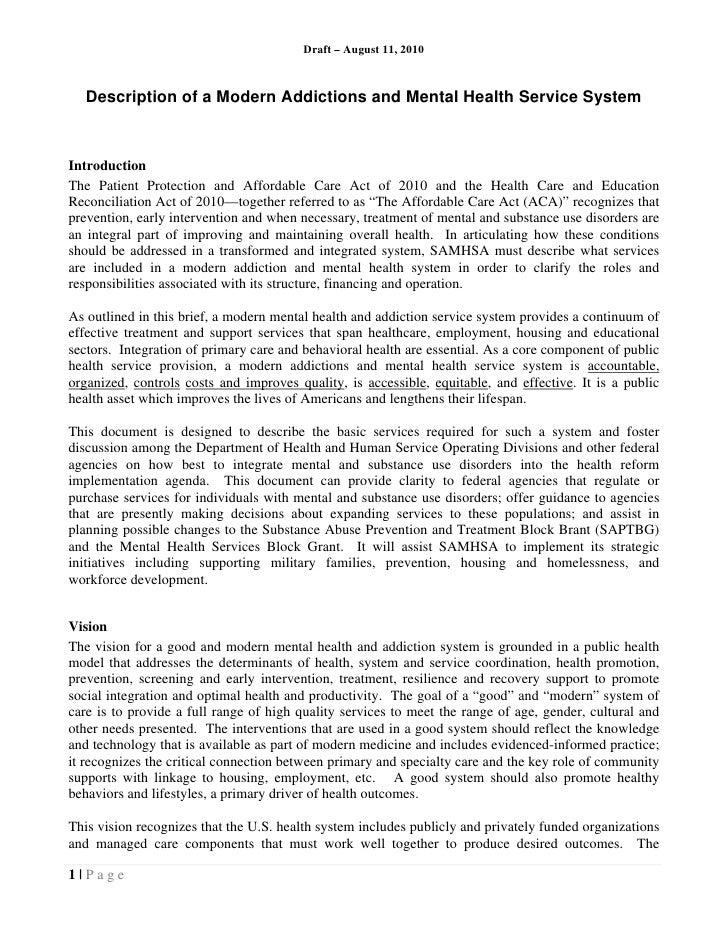 Samhsa aug 2010 addiction mh systembrief