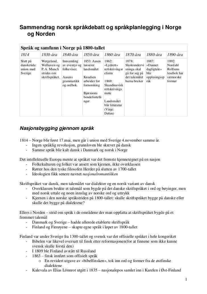Sammendrag norsk språkdebatt og språkplanlegging i Norge  og NordenSpråk og samfunn i Norge på 1800-tallet1814          18...