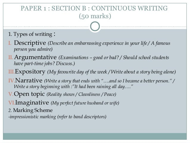 continuous writing topics