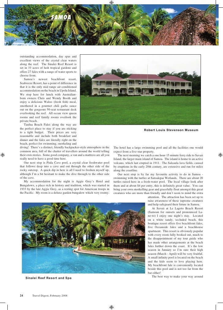 samoa     outstanding accommodation, day spas and excellent views of the crystal clear waters along the reef. The Sinalei ...