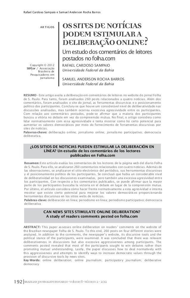Rafael Cardoso Sampaio e Samuel Anderson Rocha Barros                 a rtigos       OS SITES DE NOTÍCIAS                 ...