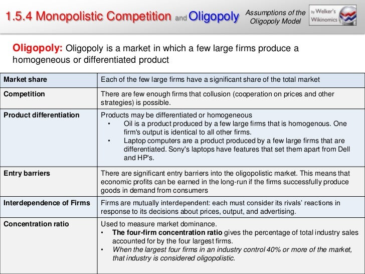 Assumptions of the1.5.4 Monopolistic Competition and Oligopoly                                Oligopoly Model  Oligopoly: ...