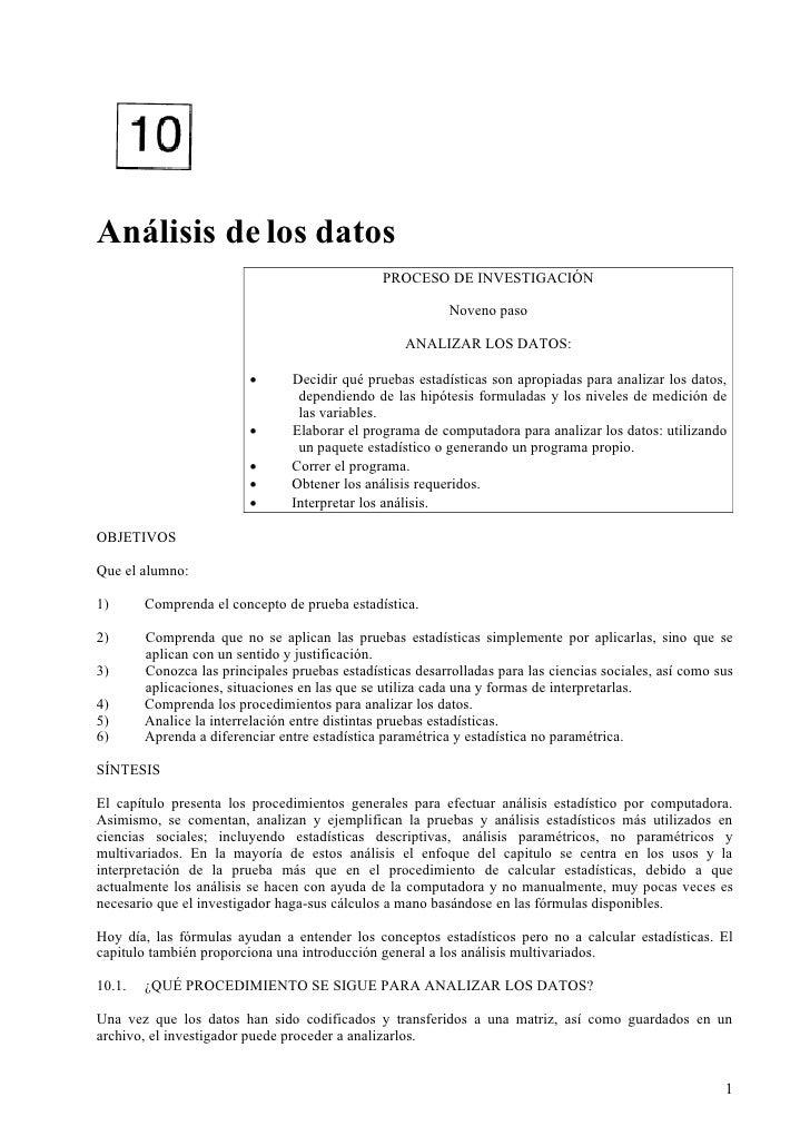 Análisis de los datos                                                 PROCESO DE INVESTIGACIÓN                            ...