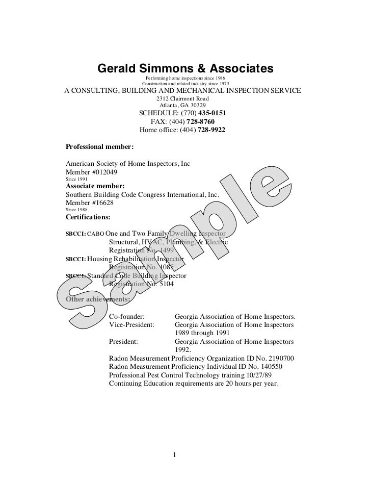 Gerald Simmons & Associates                          Performing home inspections since 1986                         Constr...