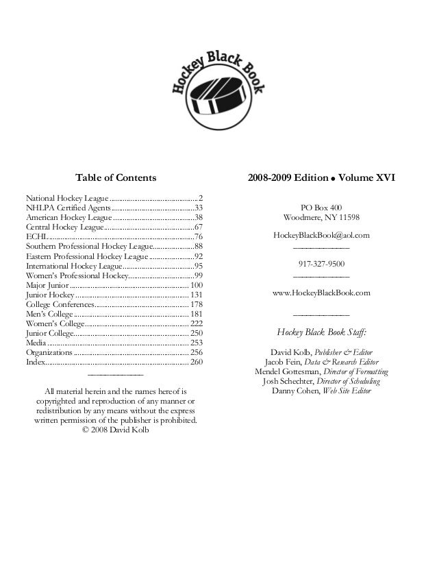 Table of Contents                                                2008-2009 Edition Volume XVINational Hockey League .........