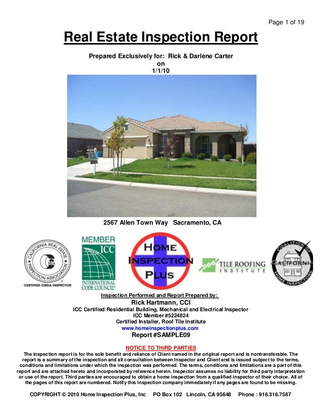 Page 1 of 19                     Real Estate Inspection Report                                Prepared Exclusively for: Ri...