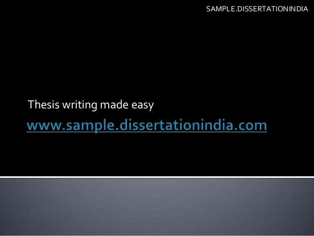 Dissertation writing made easy