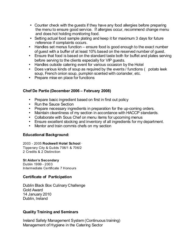Chef Resumes Examples Chef Resume Template Download Chef Resume