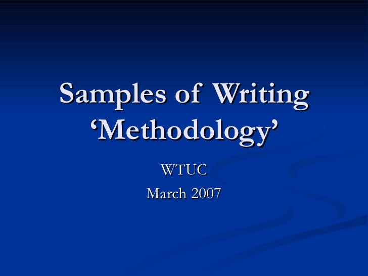 How to Write the Methodology of a Research Paper