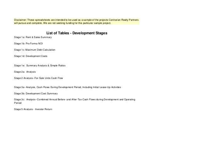 Sample Redevelopment-Project-ConstLoan-MasterProforma-update-06-30-13