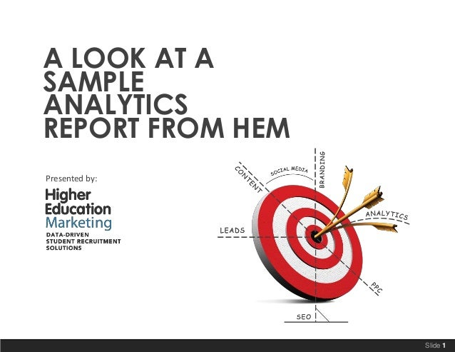 A LOOK AT A SAMPLE ANALYTICS REPORT FROM HEM Presented by:  Slide 1