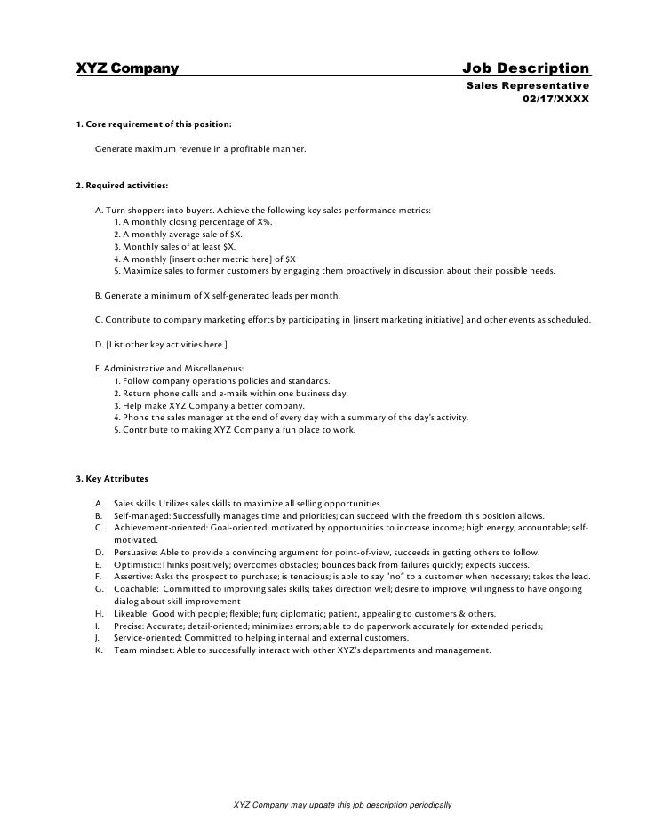 Sales Engineer Job Description Samples