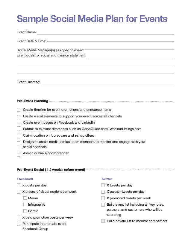 Event Social Media Plan Sample Social Media Plan For