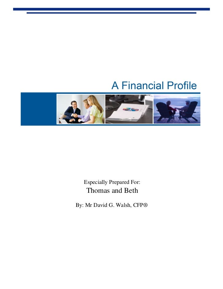 Sample of a client 'Financial Profile'