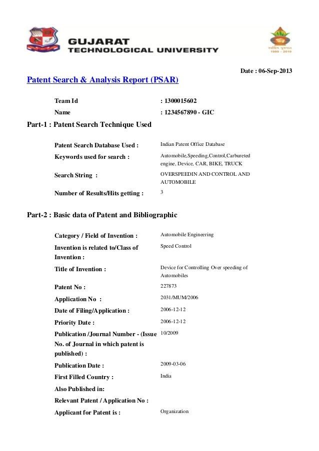 pattern search web report-sample for gtu student