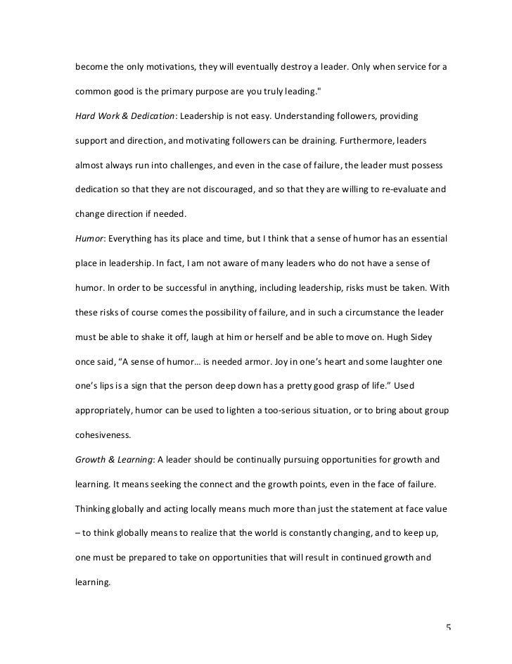 personal leadership statement paper   personal leadership