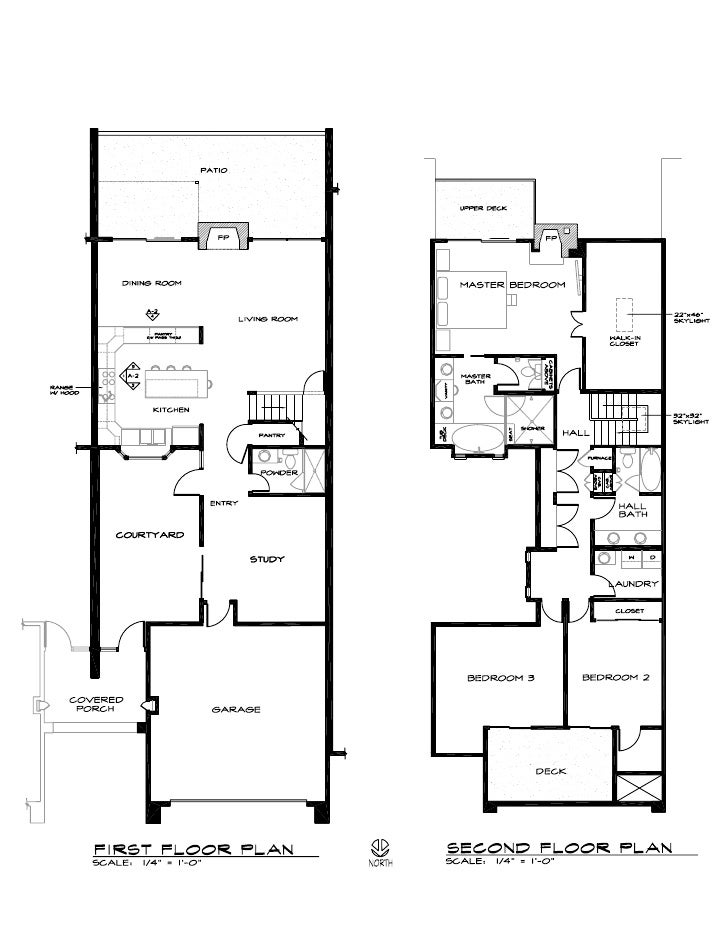 Floor plan of two story townhouse in los gatos 2008 for Two story townhouse plans
