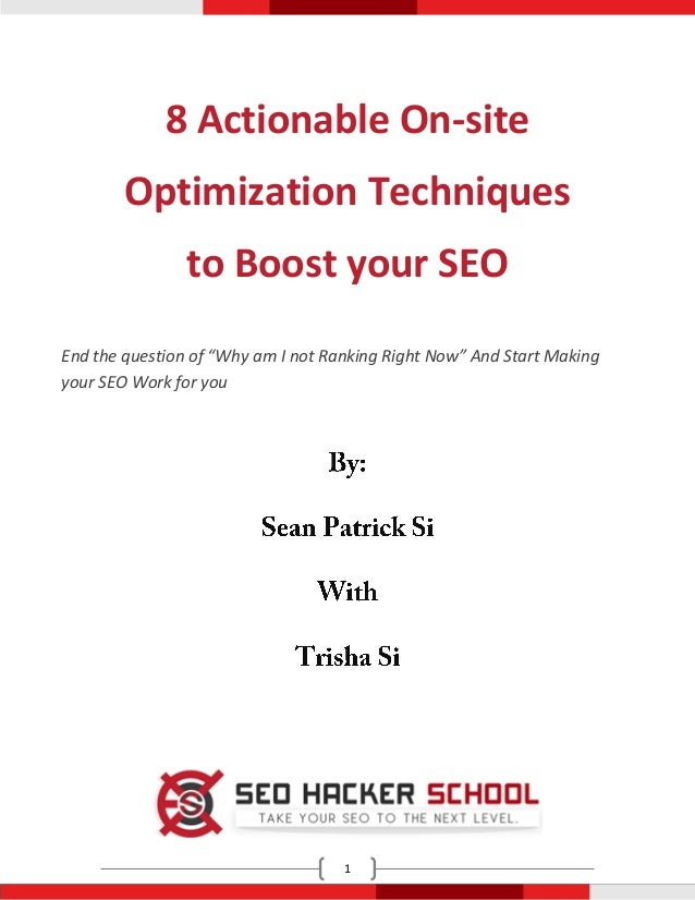 "8 Actionable On-site        Optimization Techniques                to Boost your SEOEnd the question of ""Why am I not Rank..."