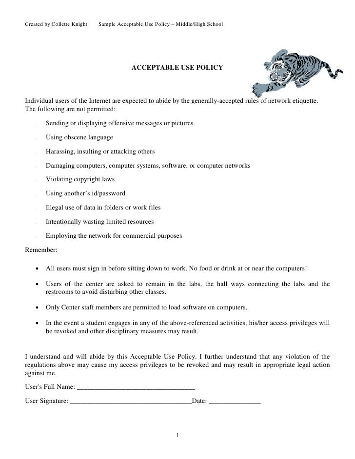 Created by Collette Knight      Sample Acceptable Use Policy – Middle/High School                                         ...