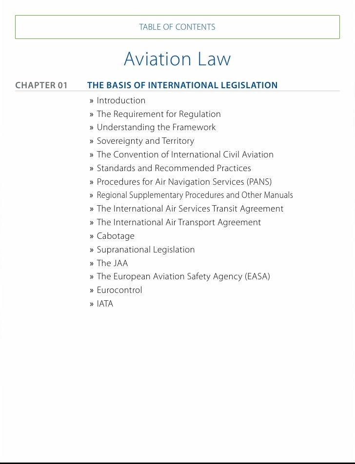 TABLE OF CONTENTS                       Aviation LawChapter 01 The Basis of International Legislation               »» I...