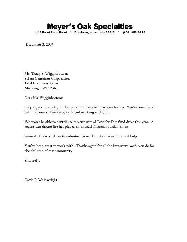 Sample Business Letter Bad News