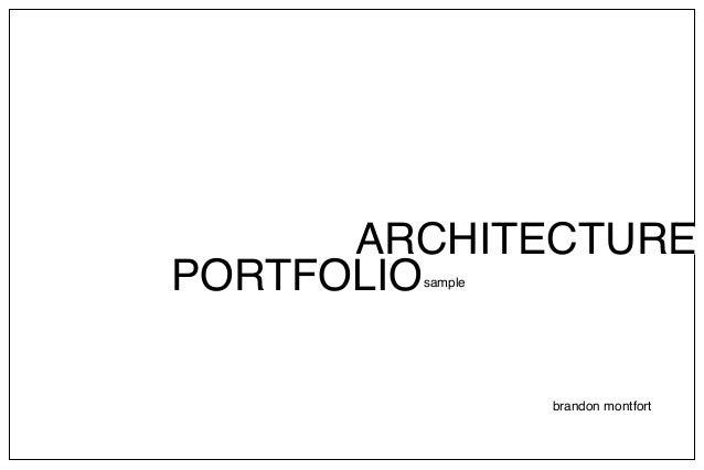 Architecture portfolio b montfort for Architectural design sample