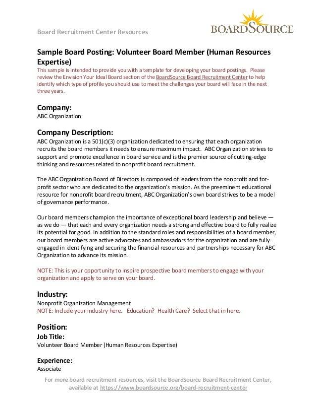 Volunteer Board Member (human resources expertise)