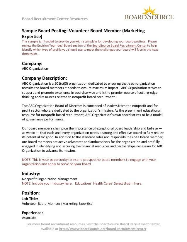 Volunteer Board Member (marketing expertise)