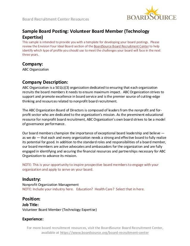 Volunteer Board Member (Technology Expertise)