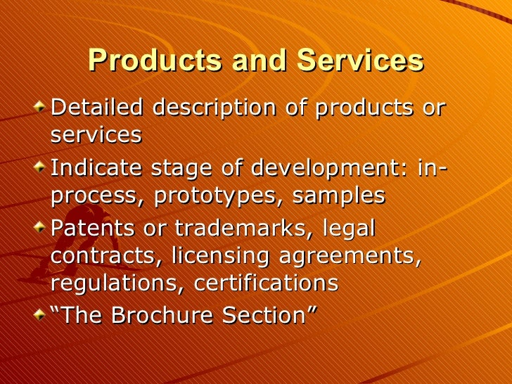 Business plan products