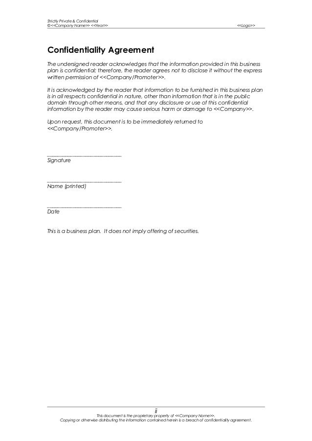 confidentiality agreement on busine